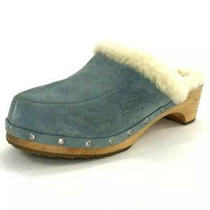 UGG Clog Womens Size 8 Light BLUE Suede Heels
